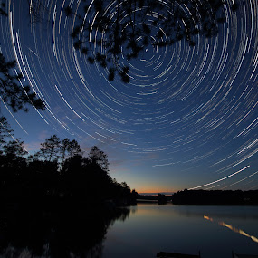 Vortex Over the Lake by Skip Spurgeon - Landscapes Starscapes ( reflection, blue, stars, lake, tracks )