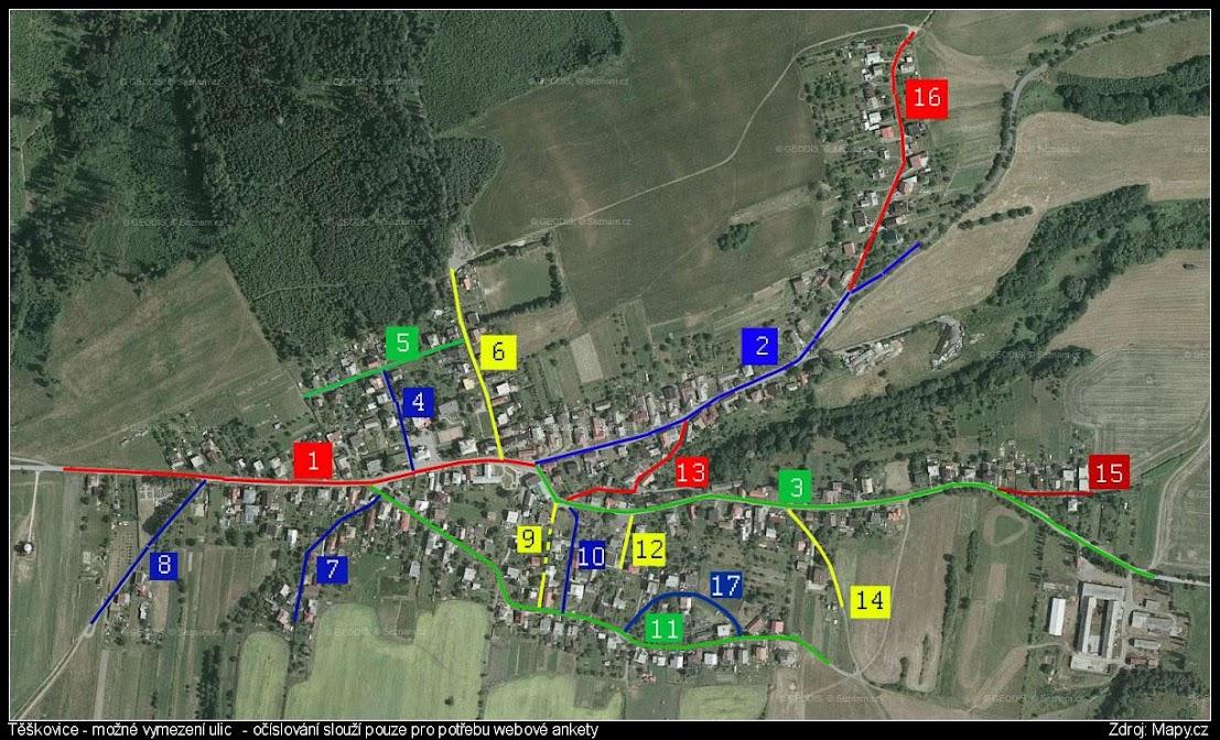 Obrázek - Schématické znázornění ulic v obci.