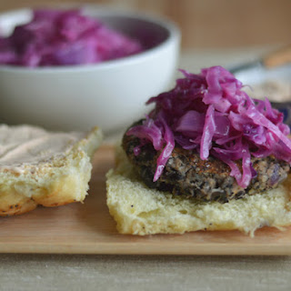 Black bean burgers w/ purple cabbage & spicy mayo for Meatless Monday