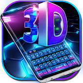 3D blue tech dimensional Keyboard