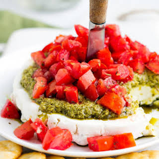 Goat Cheese Pesto Tomato Appetizer.