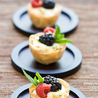 Fresh Berry and Cream Cheese Mousse Phyllo Tartlets.