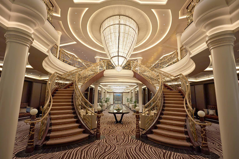 The elegant Atrium of Seven Seas Explorer.