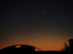 Photo: Moon and Venus decending into the dusk.