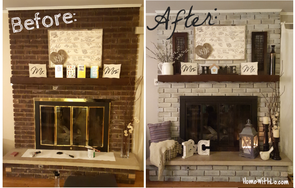 Whitewashing Brick Fireplace To Look Like Stone