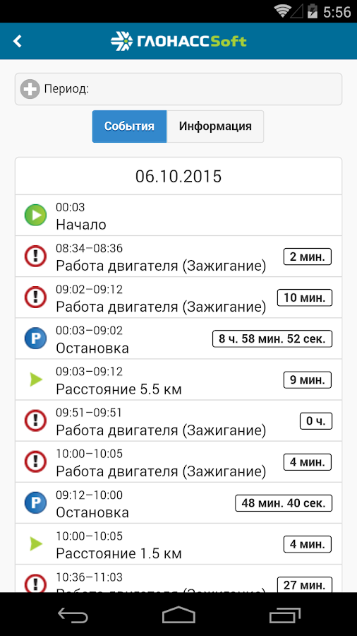ГЛОНАССсофт Monitoring- screenshot