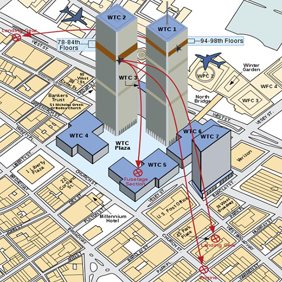O que poucos sabem é que além das torres gêmeas do complexo do World Trade Center uma terceira torre deste complexo (a de número 7) foi brutalmente atingida por destroços lançados pela torre número 1.