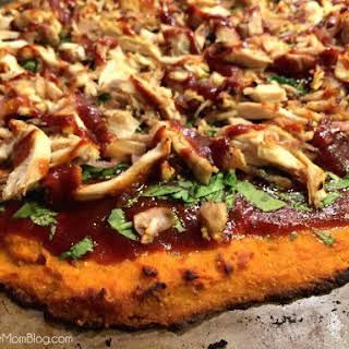 Healthy Barbecue Chicken Pizza with Sweet Potato Crust.