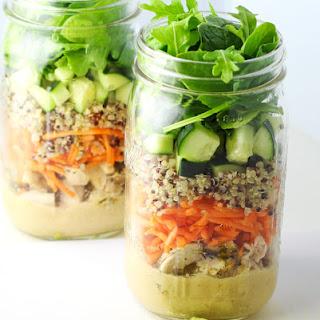 Chicken and Quinoa Mason Jar Salad.