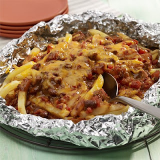 Grilled Chili Cheese Fries Foil Packet.