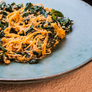Sweet Potato Noodles with Sauteed Spinach in Cashew Sauce.