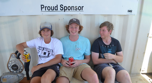 Lachlan Bennett, Jack Squire and Hayden McDougall enjoying the 2017 Narrabri Dirt Bike Club presentation day at the Newtown Park track last Saturday.