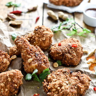 Coconut Oil Fried Peanut Chicken with Thai Honey Butter.