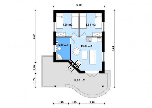 G135 - Budynek letniskowy - Rzut parteru