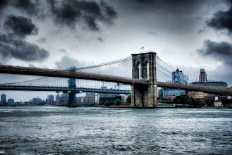 """Photo: This is about as close to the Brooklyn Bridge as I've ever gotten. It's an iconic piece of the landscape in New York and I'm curious to see what's on the other side. However, my friends in the city always tell me """"Oh, you don't want to go over there."""" I'll ask them why and they'll tell me of all the other things I can see in New York.  It's like Brooklyn is the Forbidden City. Makes me wondering what they're hiding over there that I'm not supposed to see.  Stop by the blog at http://williambeem.com"""