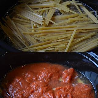 Ground Beef Meatball Recipe – Fettucine Pasta & Meatballs in the Slow Cooker.