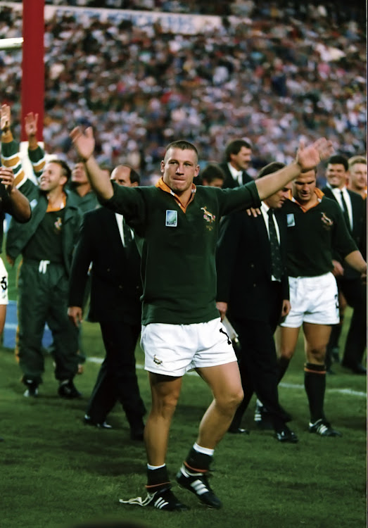 James Small celebrates during the Rugby World Cup final on June 24 1995 at Ellis Park in Johannesburg.