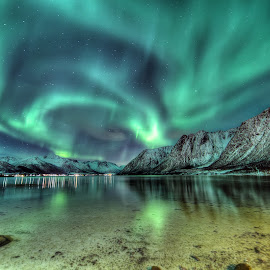 Aurora over hognfjorden by Marius Birkeland - Landscapes Starscapes ( water, mountains, winter, sky, aurora, sea, arctic, fjord )