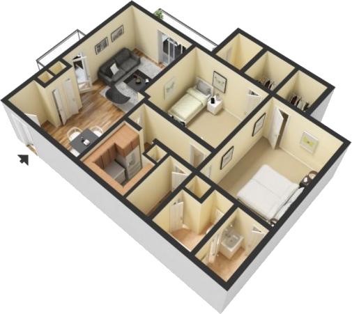 Hawthorne Floorplan (2 Bed, 1.5 Bath)