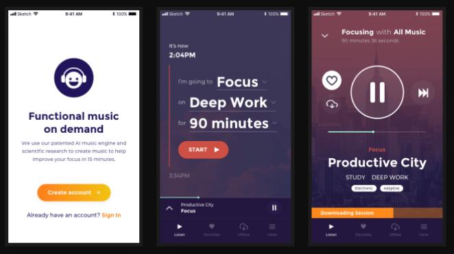Three screenshots of a mobile app design