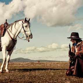 by Veronica Gafton - Animals Horses ( nature, horse, funny, white, man )