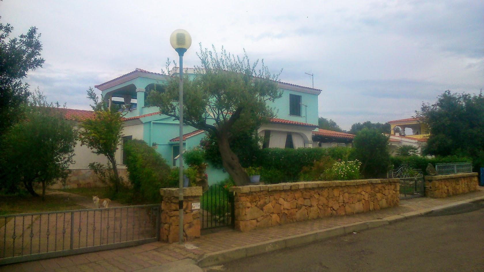 Дом соседей. В голубом окрасе. Ухоженный.