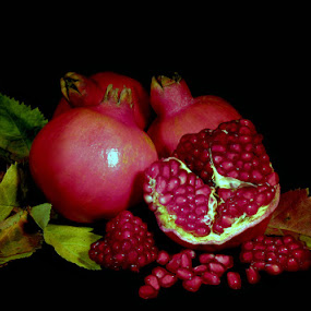 POMEGRANATES  by Karen Tucker - Food & Drink Fruits & Vegetables ( fruit, pomegranates, still life, colourful, hralthy food, arty farty,  )