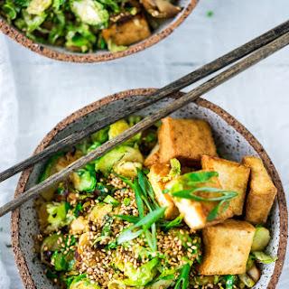 Sesame Brussel Sprouts, Mushrooms & Tofu.