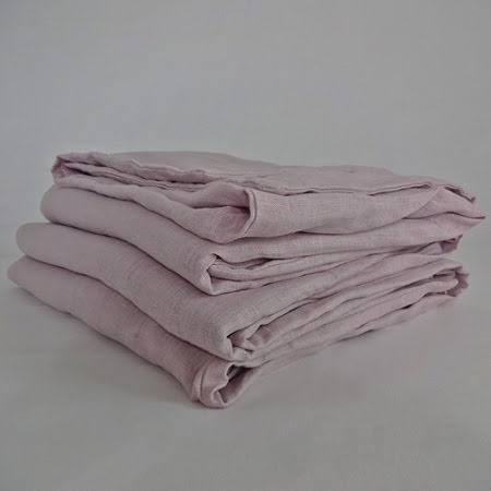 Rosa påslakan i linne