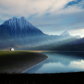 lonely house at the lake by Markus Gann - Landscapes Mountains & Hills ( mountain, peak, bright, paper, illustration, tropical, travel, house, imagination, landscape, sun, backdrop, science, looking, fantasy, planet, hemisphere, sky, nature, treeless, cosmos, ecology, black, heaven, loneliness, waves, majestic, beautiful, horizon, scenic, solar, geographical, astronomy, environment, season, blue, background, cloud, lifeless, night, sunrise, scenery, greatness, world )