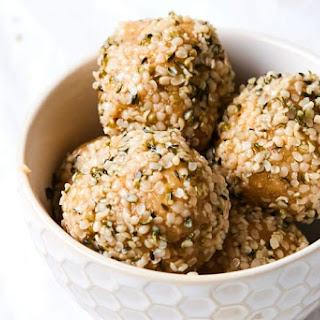 """White Chocolate"" Peanut Butter Energy Balls (Vegan, GF)."
