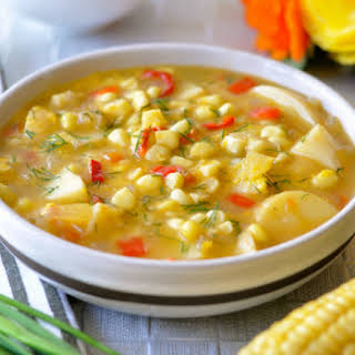 Easy Corn Chowder with Potatoes, Red Pepper & Dill.