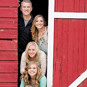 Stack Em' by Amber Welch - People Family ( love, farm, sisters, red barn, barn, family )
