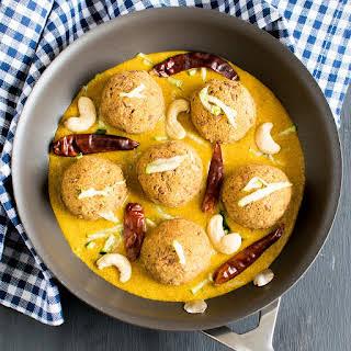 Zucchini Pinto Beans Kofta in Spicy Cashew Curry.