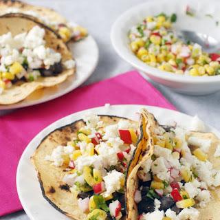 Black Bean Street Tacos with Radish Corn Salsa Recipe