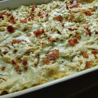 Creamy Chicken & Bacon Alfredo Lasagna.