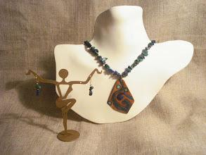 Photo: <BEREHYNYA> {Great Goddess Protectress} unique one-of-a-kind statement jewellery by Luba Bilash ART & ADORNMENT  Copper enamel pendant, chrysocolla, 14K gold vermeil NFS