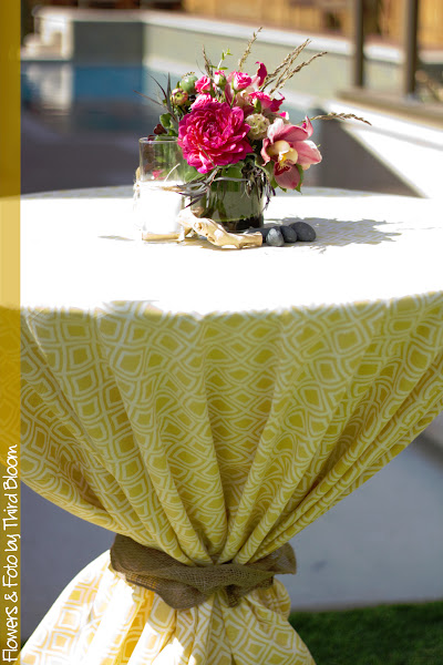 Photo: Loved the fun yellow retro print linens and they were tied off with burlap and twine