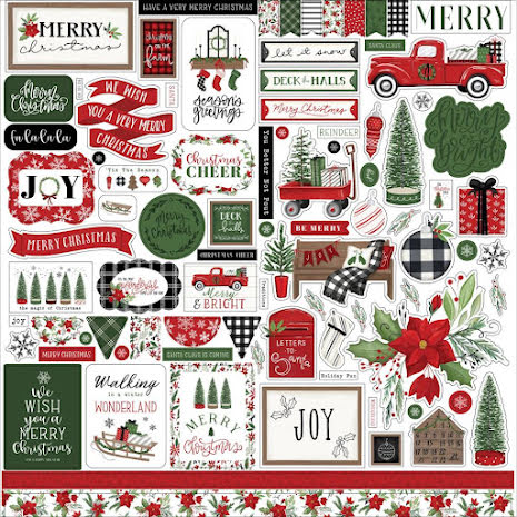 Carta Bella Cardstock Stickers 12X12 - Home For Christmas