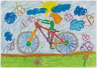 """Photo: praca Amelii """" Jeździmy rowerem bo ... jest przyjemnie i to zdrowe przebywać na powietrzu """""""