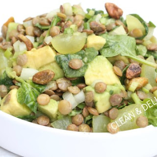 Minted Lentil Salad with Grapes + Spinach