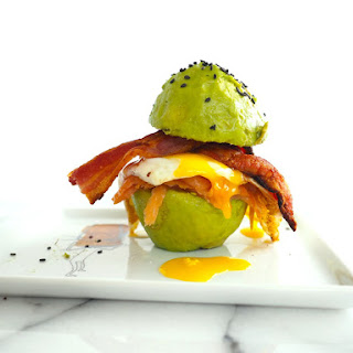 Smoked Salmon Avocado Bun Breakfast Burger