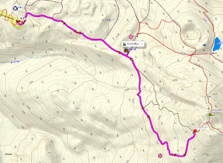 日光白根山 登山コース地図