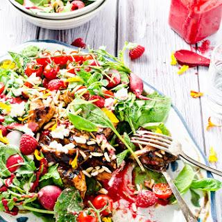 BBQ Chicken Salad Bowl with Raspberry Pesto Vinaigrette.