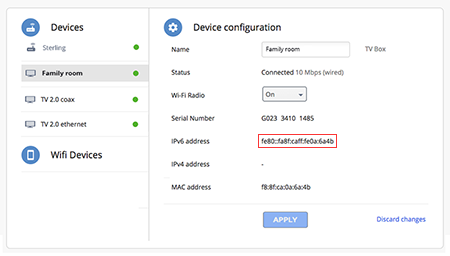 Locate IP address in your Google Fiber account
