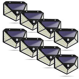 Set 8 x Lampa 100 LED cu panou solar, senzor de miscare