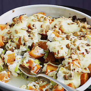 Squash Gratin with Goat Cheese and Hazelnuts.