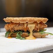 Chick'n Waffle Sandwich w/ fries