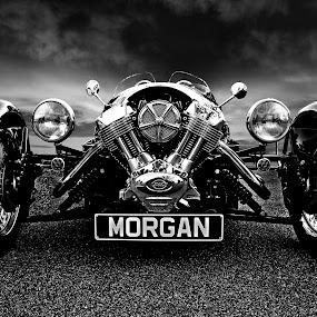 Morgan BW by JEFFREY LORBER - Black & White Objects & Still Life ( motorcycles, caffeine and octane, lorberphoto, rust 'n chrome, morgan, jeffrey lorber, 3-wheel,  )