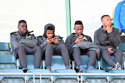 Mamelodi Sundowns players Siyabonga Zulu, George Lebese,Thokozani Sekotlong and Andile Jali during the CAF Champions League match between Mamelodi Sundowns and Horoya AC at Lucas Moripe Stadium on August 28, 2018 in Pretoria, South Africa.